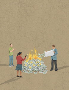 People burning money