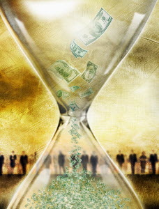 Dollar banknotes falling in hourglass