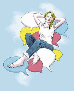 Woman reclining on speech bubbles