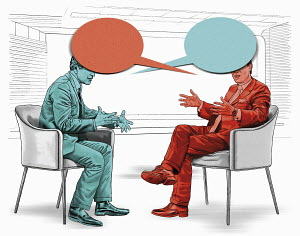Confrontation between men with red and blue speech bubble