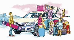 Family packing car for winter holiday