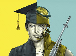 Young man�s face half graduate and half soldier
