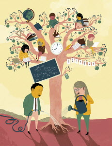 Teachers watering education tree with children in branches