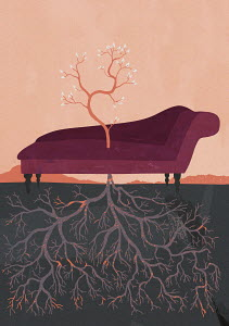 Tree blooming through psychiatrist�s couch