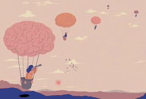 People in brain hot air balloons