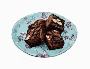 Chocolate brownies on pretty plate