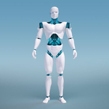 Portrait of white android on blue background