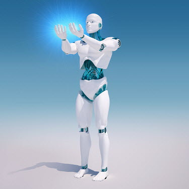 White android holding light