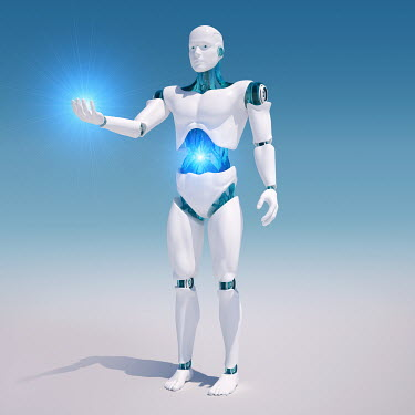 White android with illuminated stomach holding light