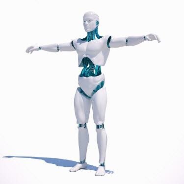 White android standing with arms outstretched on white background