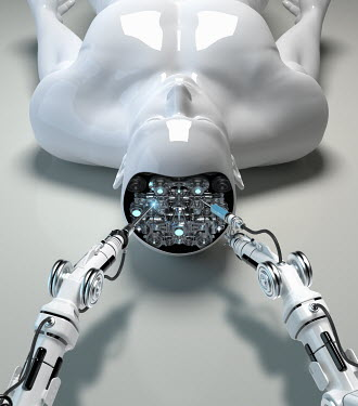 Robotic arm repairing brain of male android