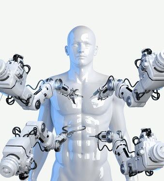 Robotic arms with tools around model of male human body