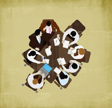 Overhead view of business people meeting around table