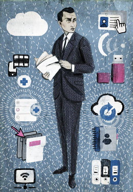 Businessman with file and information management technology symbols