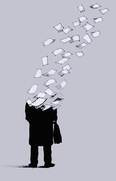 Businessman breaking up into sheets of paper - Businessman breaking up into sheets of paper