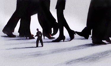 Small businessman walking under large business people - Small businessman walking under large business people