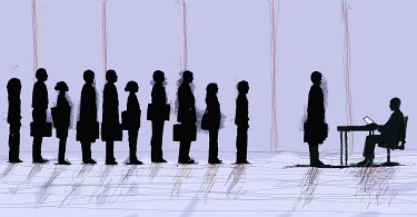 Business people standing in interview queue - Business people standing in interview queue