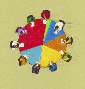 Business people meeting around pie chart conference table - Business people meeting around pie chart conference table