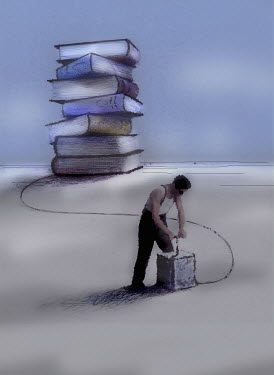 Man pushing detonator attached to stack of books - Man pushing detonator attached to stack of books