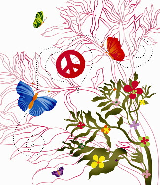 Flowers and butterflies with peace symbol