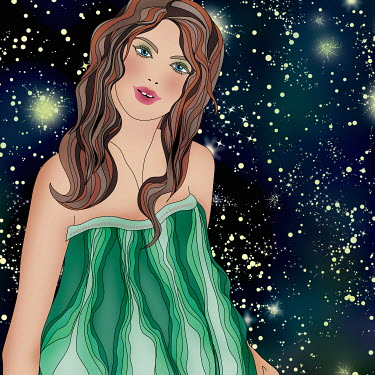 Beautiful woman at night wearing pattern of astrological sign Taurus