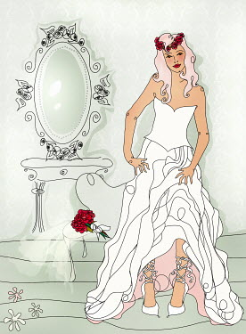 Beautiful bride getting ready wearing wedding dress