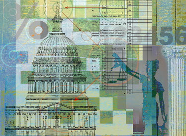 Scales of Justice, tax form and United States Capitol building - Scales of Justice, tax form and United States Capitol building