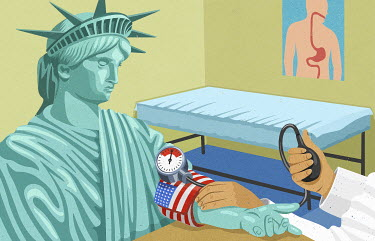 Doctor taking blood pressure of Statue of Liberty with United States flag cuff