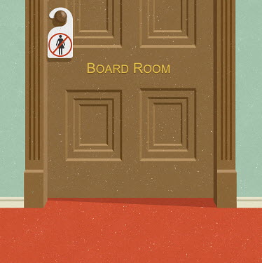 Closed board room door with no entry sign banning women