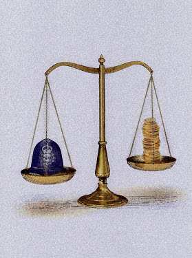 Police helmet and pile of coins on scales - Police helmet and pile of coins on scales