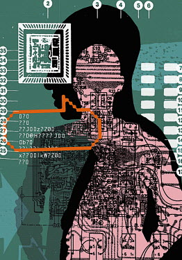Collage of man's silhouette, data and technology