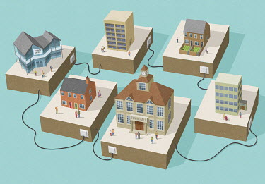 Connected buildings in a town