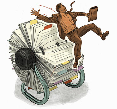 Businessman falling from rolodex