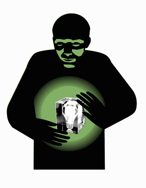 Man holding glowing light