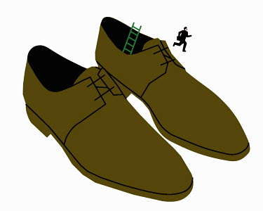 Businessman running away from oversized shoes