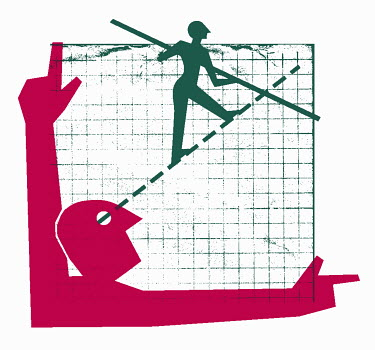 Tightrope walker on graph chart