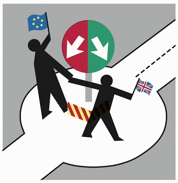 Two figures holding EU flag and Union Jack