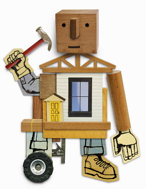 Humanlike builder working at house