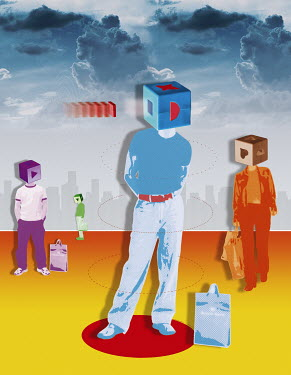 Consumers with boxes covering heads