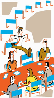 Businessman leaping over hurdles to join a meeting
