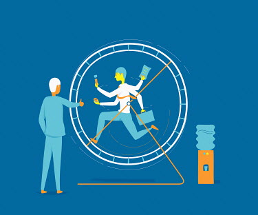 Businessman running in exercise wheel watched by businesswoman