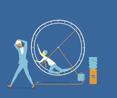 Exhausted businessman in exercise wheel next to businesswoman