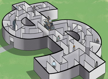 Business people in a dollar maze with team finding the solution
