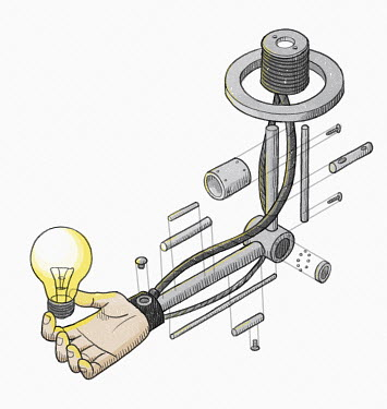 Disassembled robotic arm holding light bulb