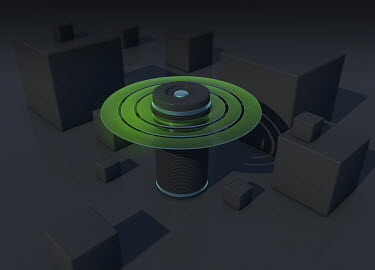 Abstract smart speaker emitting sound waves