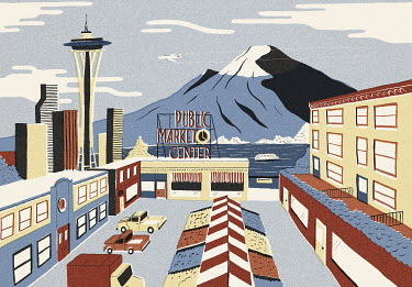 Illustration of famous landmarks in Seattle, Washington State