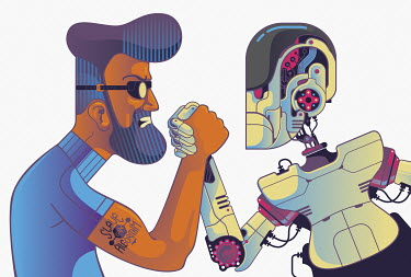 Man and robot arm wrestling