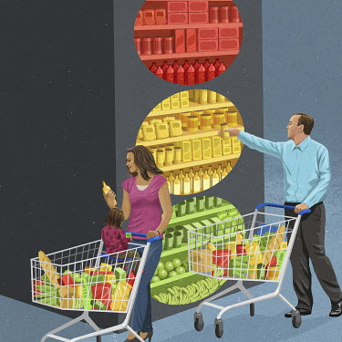 People shopping for food using traffic light label system