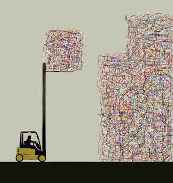 Forklift truck stacking cubes of chaotic tangled lines