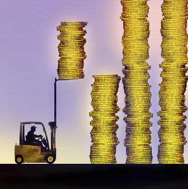Forklift truck stacking piles of money